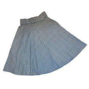 Worthington Plaid Belted Full Circle Skirt